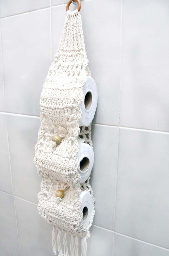 Porta papel higiênico de crochê feito em barbante cru