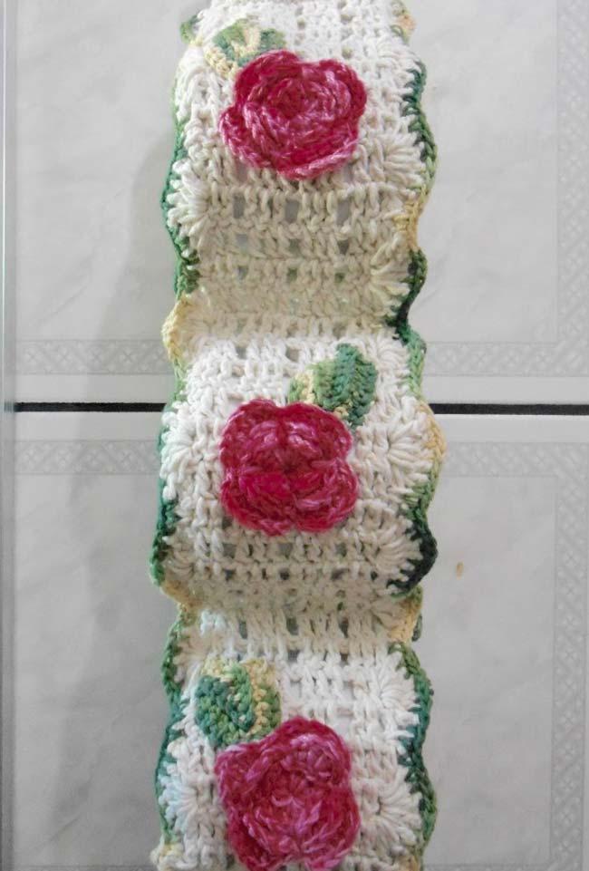 Porta papel higiênico de crochê flores