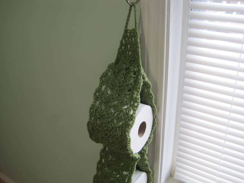 Porta papel higiênico de crochê na cor verde musgo