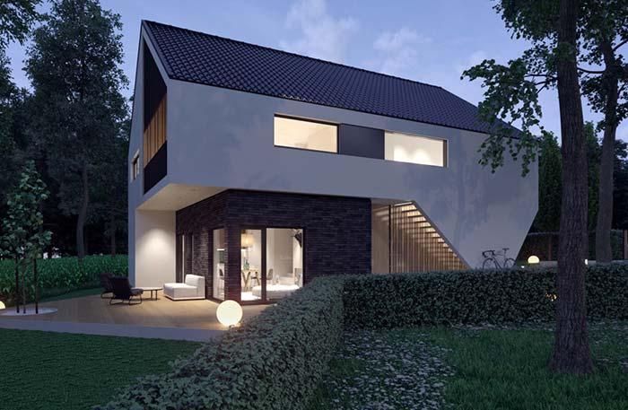 Arquitetura moderna com telhas esmaltadas