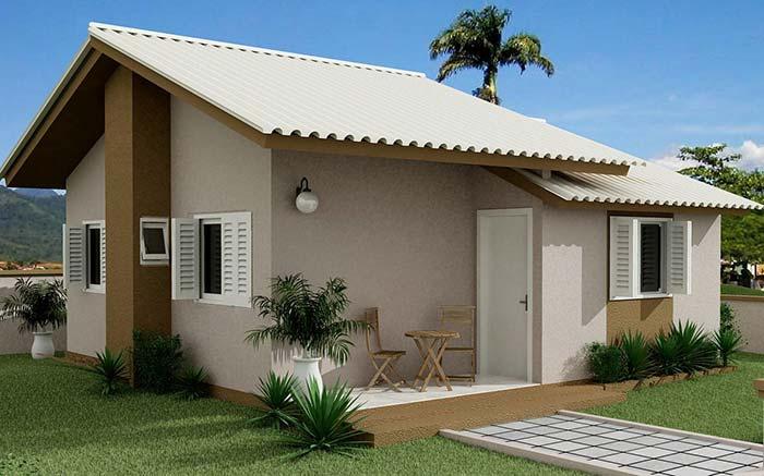 Casa pequena e simples com telhado de fibrocimento