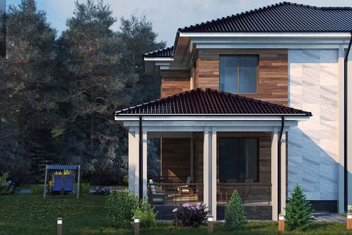 Casa de campo com telhado quatro águas e telha cerâmica
