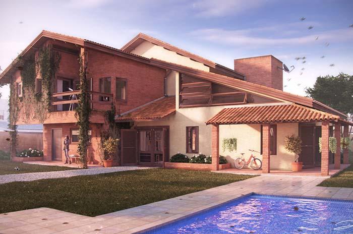 Casa de estilo rústico com telhas cerâmicas
