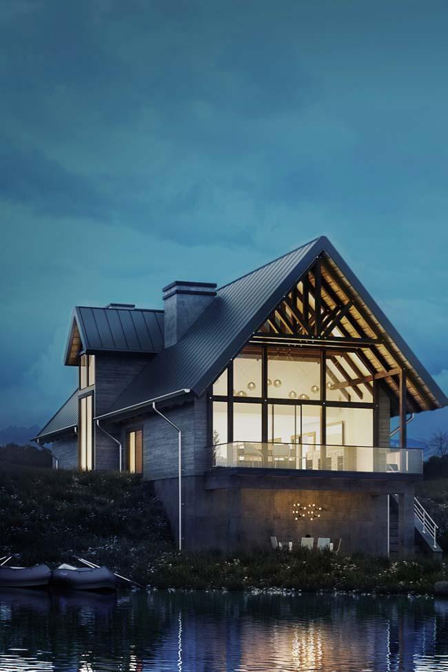 Casa no lago com telhas metálicas