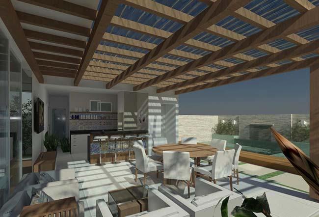 Área externa mais iluminada com a transparência das telhas translúcidas