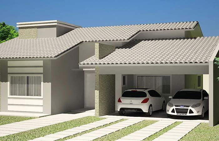 Cor das telhas combinando com a cor da casa