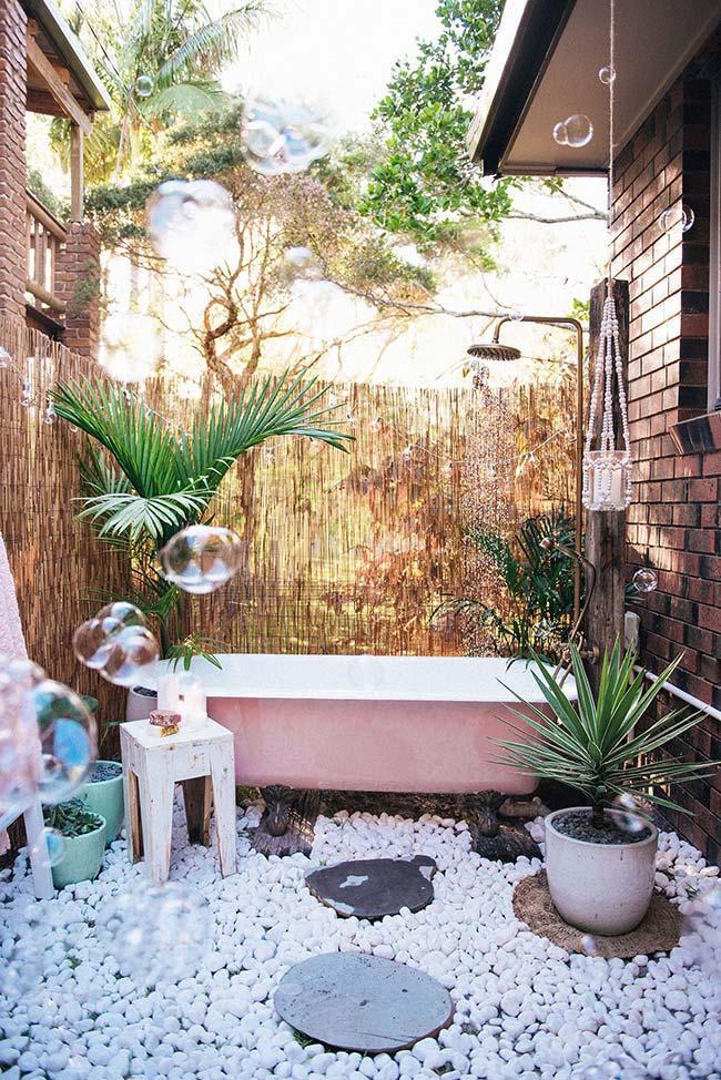 Jardim no clima boho