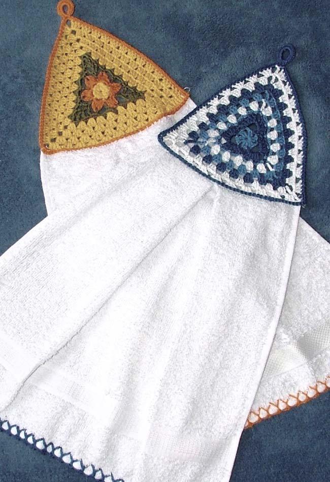 Porta pano de crochê fixado no próprio pano