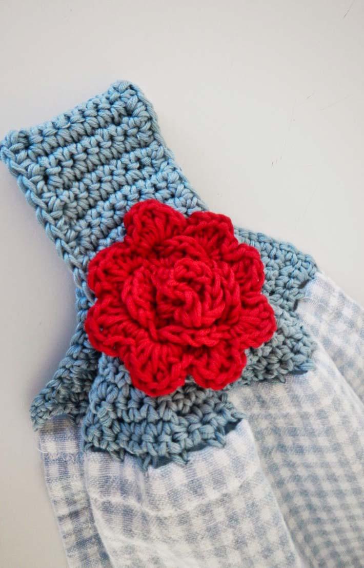 Outra linda opção de pano de prato de crochê e suporte junto
