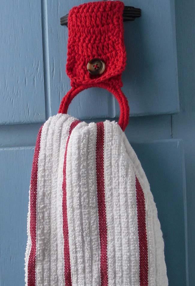 Um porta pano de prato de crochê simples e fácil de fazer