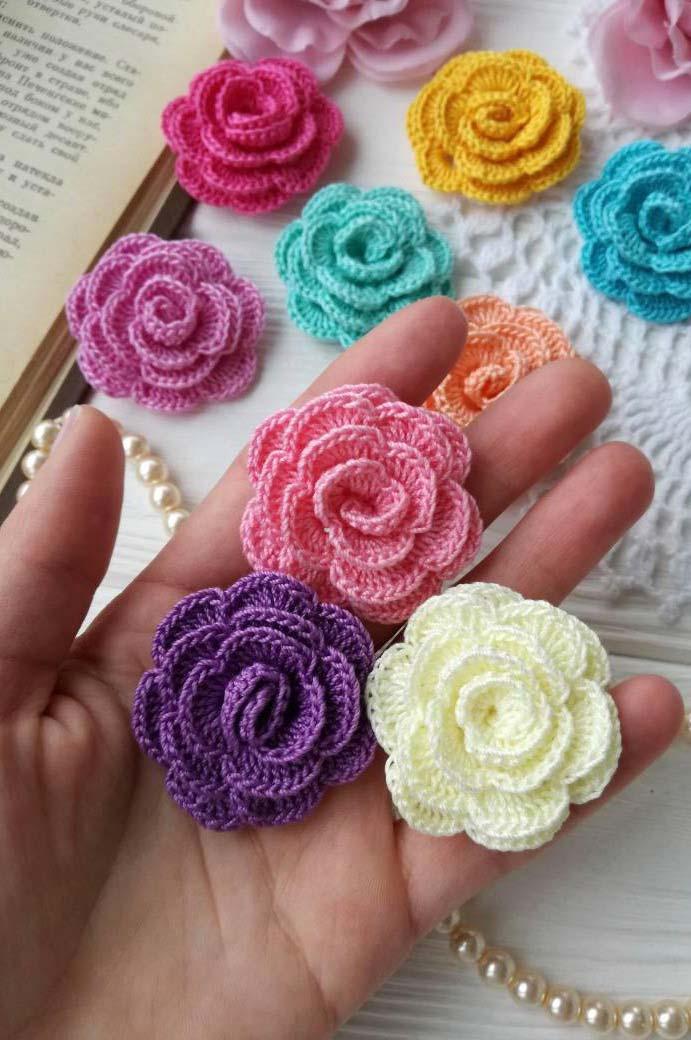 Rosas de crochê simples e fácil