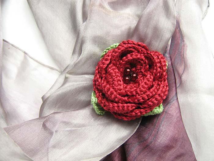 Square de crochê com rosas