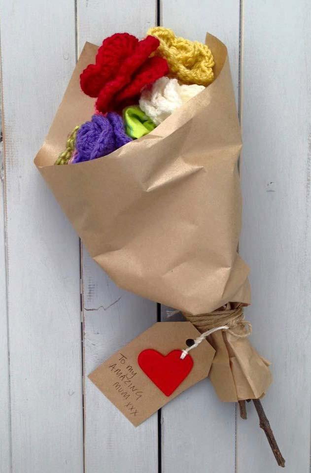 Rosas de crochê para presente