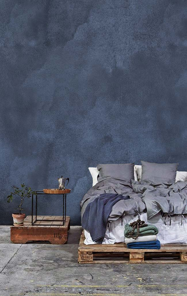 Marmorato azul no quarto de casal