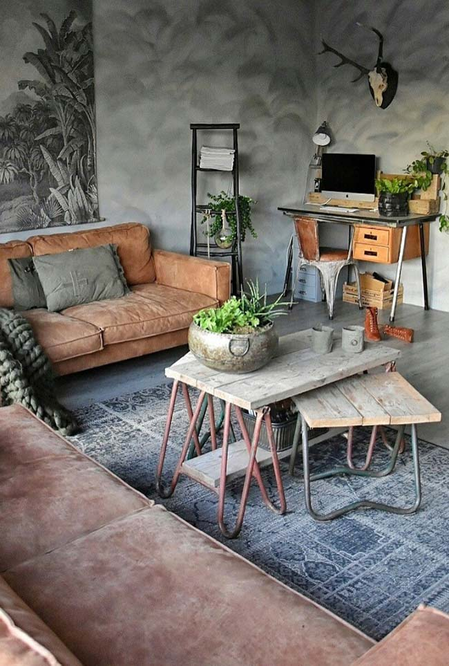 Sala com textura marmorizada