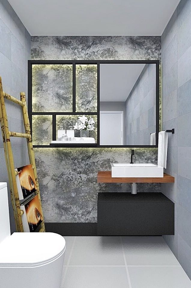 Efeito de marmorato na parede da pia