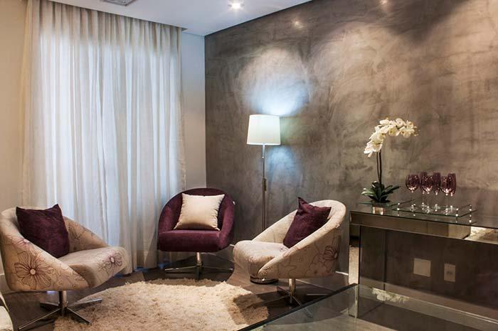 Acabamento de marmorato na sala
