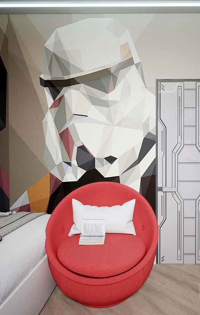 Darth Vader na parede do ambiente