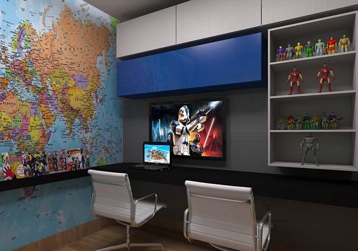 Nicho de armário com decoração geek