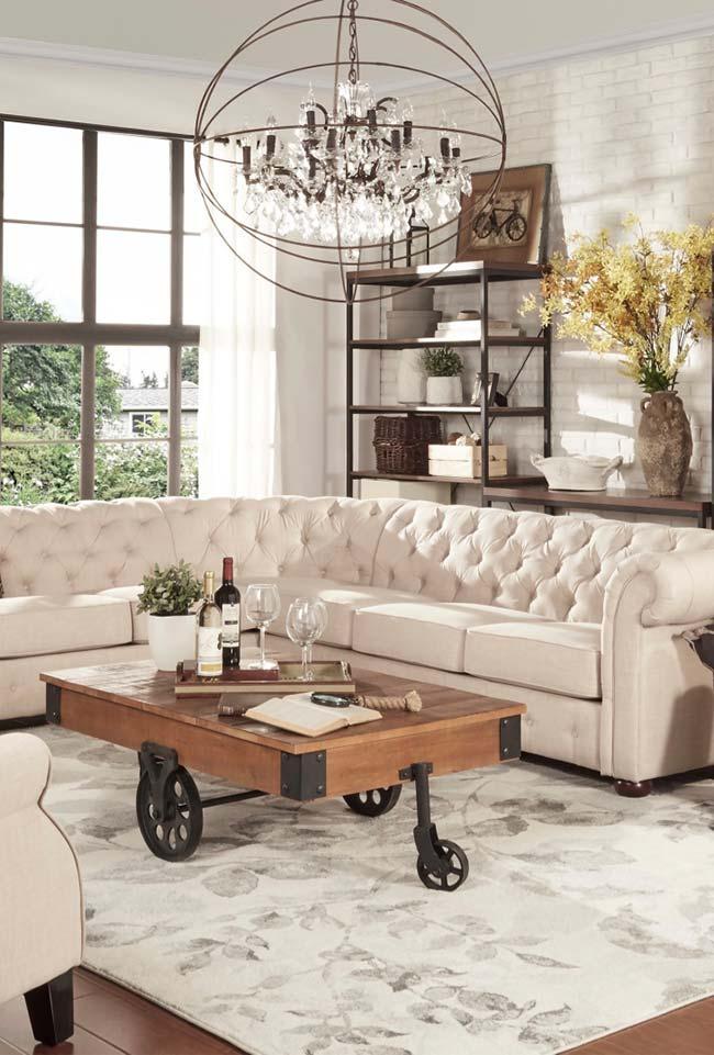 Tijolinhos brancos na sala rústica