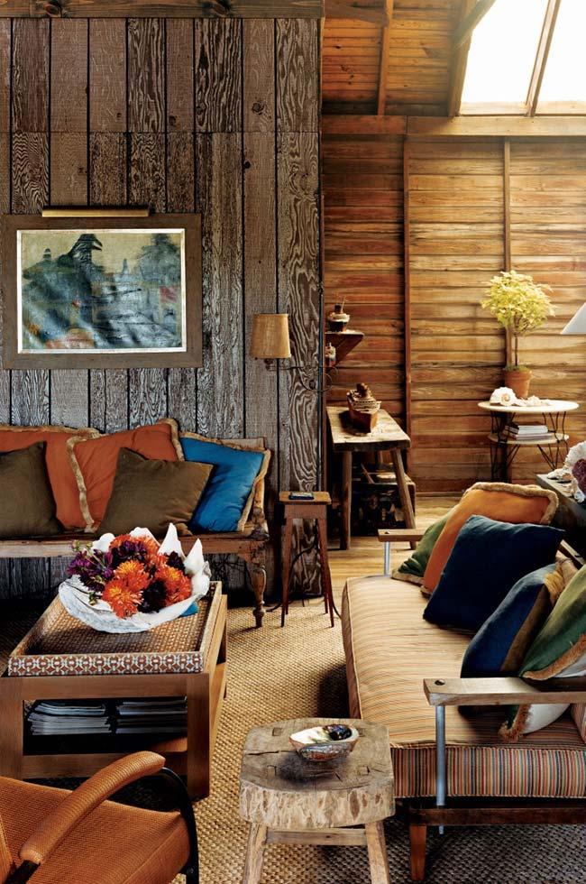 Sala rústica simples