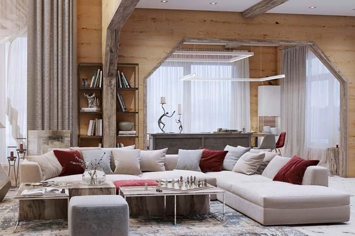 Sofá de linhas retas na sala rústica