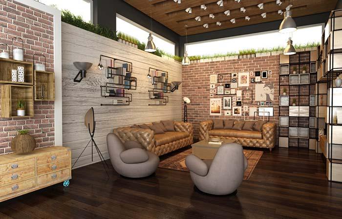 Decoração de sala rústica moderna