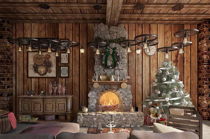 Sala rústica decorada para o Natal
