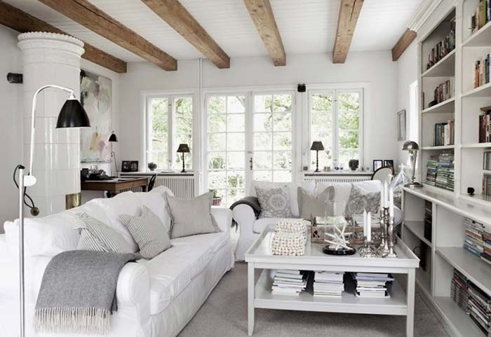 Sala rústica branca