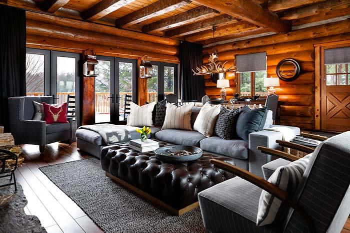 Preto e madeira na decoração da sala rústica