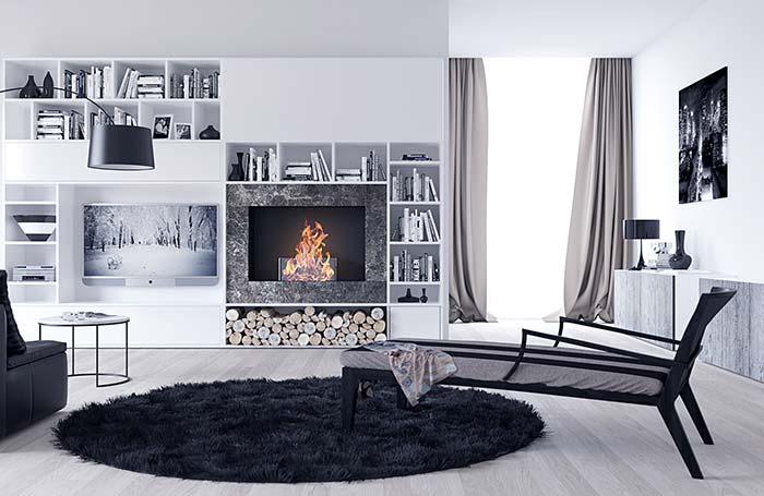 Decoração de sala rústica preta e branca