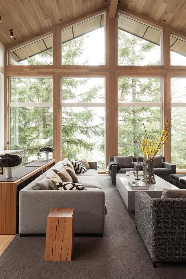 Sala rústica moderna com tons de cinza