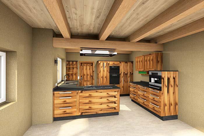Cozinha toda feita de pallet com armários
