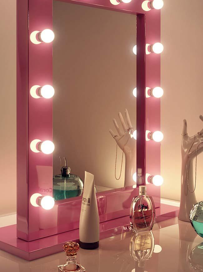 penteadeira camarim com espelho rosa