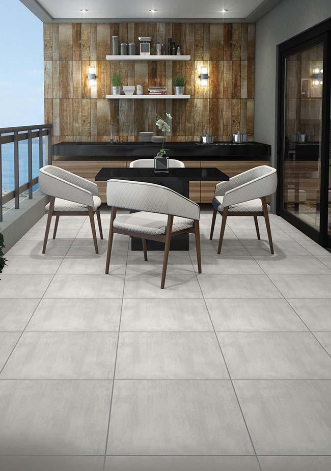 Varanda moderna clean com piso