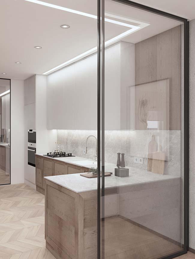 bancada de mármore Botticino na cozinha