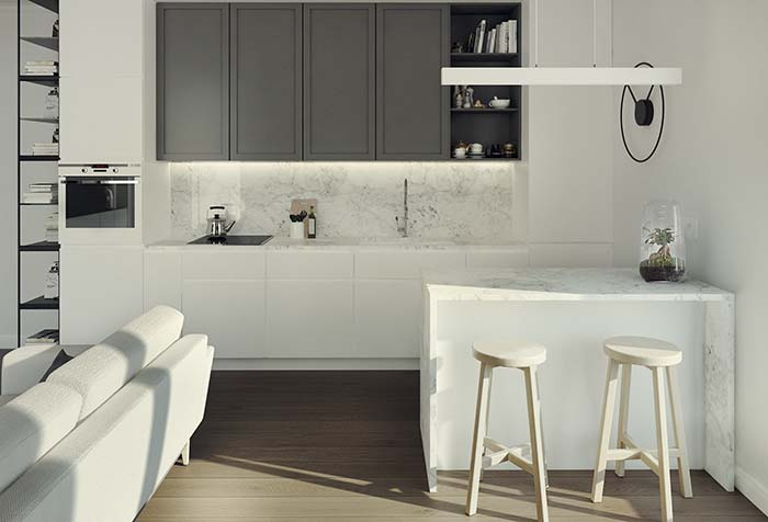 mármore Carrara Gióia: proposta clean e sóbria