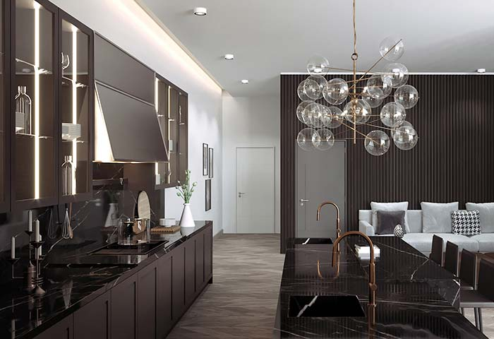 Cozinha de armários marrom não poderia escolher outro tipo de mármore para a bancada