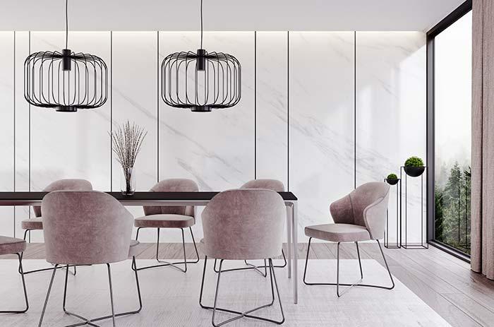 Ambiente moderno ganhou charme e sofisticação com o revestimento de mármore Piguês