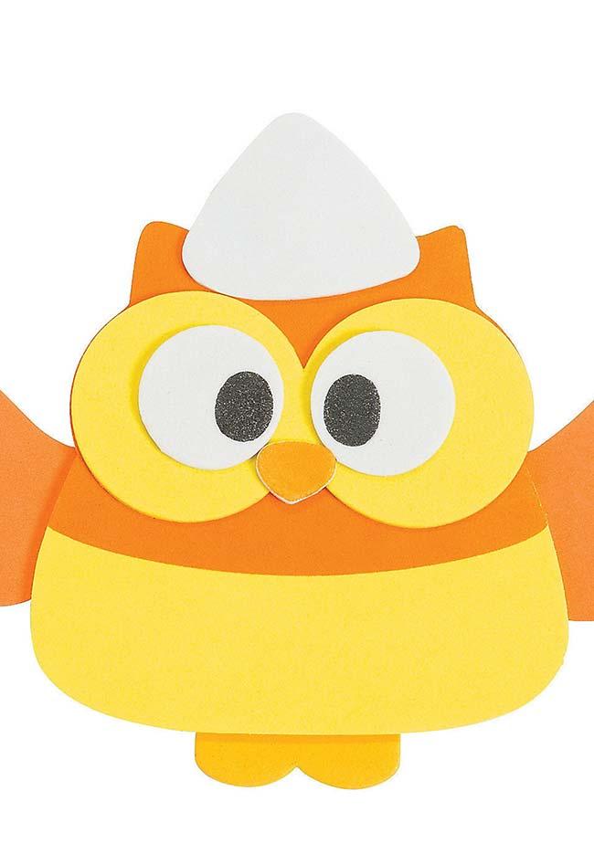 Coruja de EVA laranja e amarela
