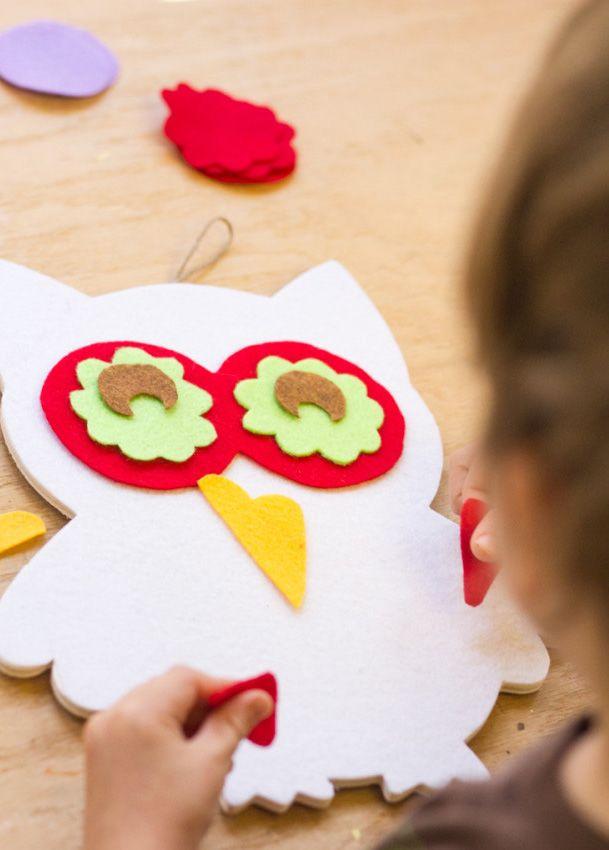 Crianças podem fazer corujas de EVA