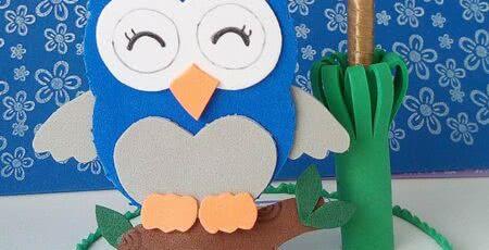 Coruja de EVA azul