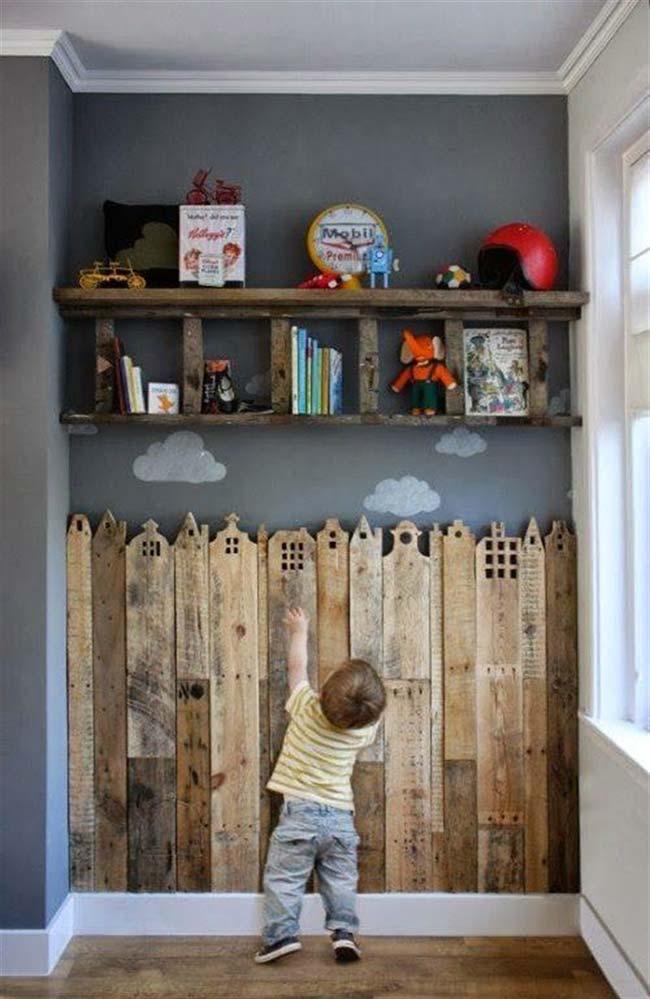Parede de pallet para quarto de criança