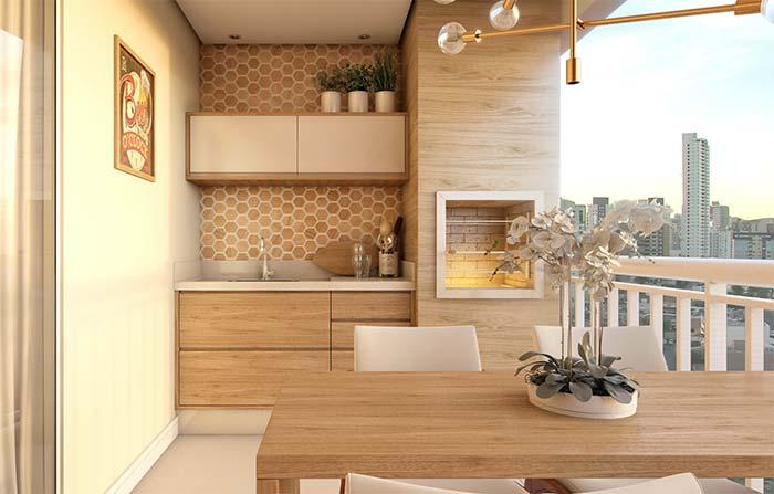 Branco e madeira na varanda gourmet