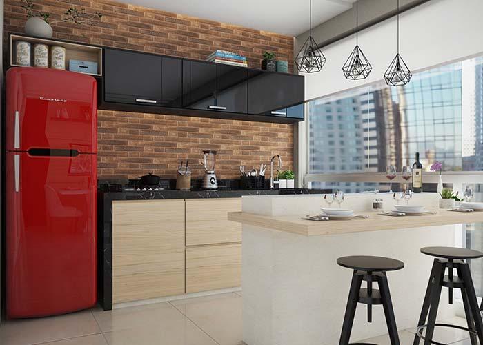 Parede de tijolinhos e geladeira vermelha são o charme dessa varanda