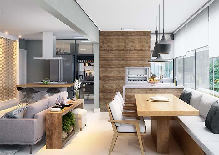 Varanda gourmet integrada aos ambientes internos