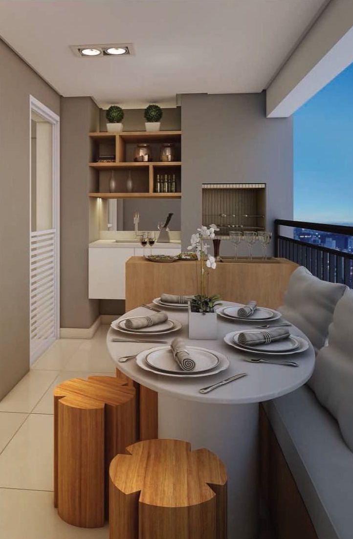 Varanda pequena de apartamento com churrasqueira