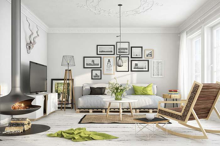Abajur para sala de chão com base de madeira