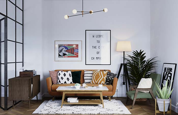 Sala de estilo retrô traz um abajur de chão com design moderno em formato de tripé