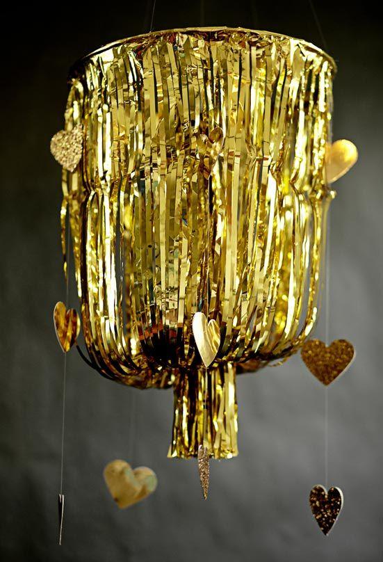 Luminária de fitas para decoração de casamento DIY